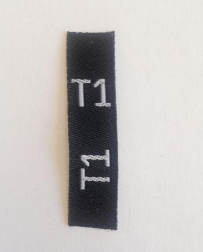 étiquettes tailles T1, T2, T3, ... fond noir taille en blanc